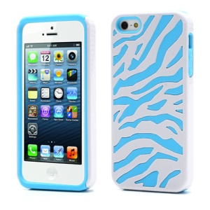 2 in 1 Zebra PC & Silicone Composite Case for iPhone 5 5s - White / Baby Blue