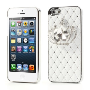 Glittery Crystal Heart Crown Rhinestone Case for iPhone 5 - White