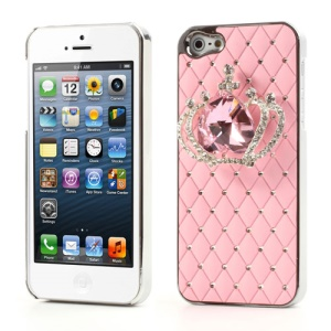 Glittery Crystal Heart Crown Diamond Case for iPhone 5 - Pink