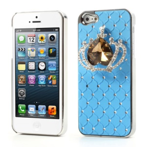 Glittery Crystal Heart Crown Stary Sky Rhinestone Case for iPhone 5 - Blue