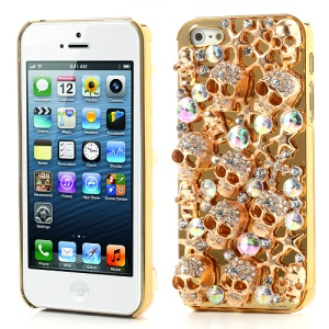 Sparkling Punk Metallic Skull Heads Rhinestone Case for iPhone 5 - Gold