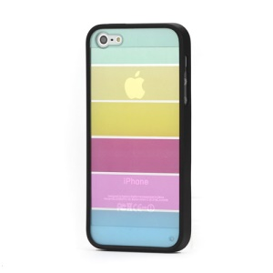 Rainbow Colorful Smooth TPU Hard Case Cover for iPhone 5 6th Gen - Black