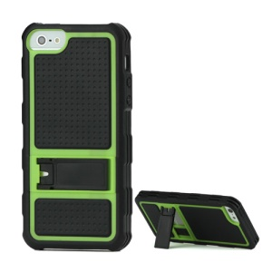 Skid Proof TPU Bumper Frame Plastic Back Cover Case with Kickstand for iPhone 5 - Black / Green