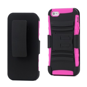 Heavy Duty Armor Hybrid Belt Clip Holster Cover Case Multi-combination Using Methods for iPhone 5 - Black / Rose