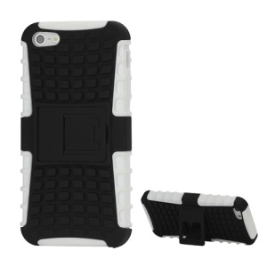 Dual-layer TPU &amp; Plastic Skidproof Grip Combo Kickstand Case for iPhone  5 - Black / White