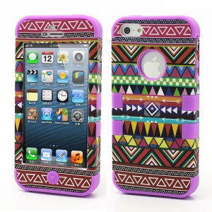 3-Piece Geometric Aztec Tribal Tribe Pattern High Impact Hybrid Case for iPhone 5 - Purple