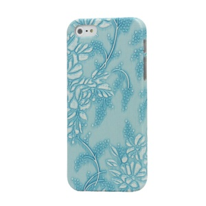 Flora Leather Coated Hard Case Cover for iPhone 5 - Blue