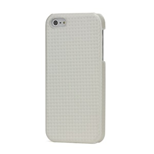 Basket Weave Leather Coated Hard Case for iPhone 5 - White