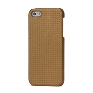 Basket Weave Leather Coated Hard Case for iPhone 5 - Brown