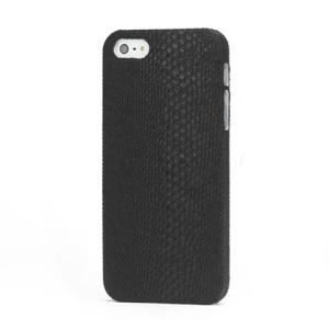 Snake Skin Coated Hard Case Cover for iPhone 5 5s - Black