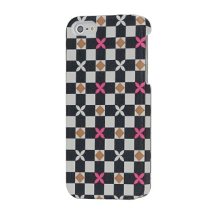 White and Black Checks Cloth Coated Hard Case for iPhone 5 - Rose Floral