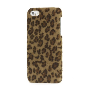 Leopard Plush Coated Hard Case for iPhone 5 - Dark Brown