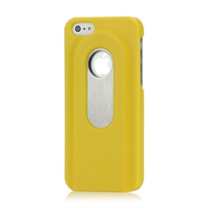 Stainless Steel with Slide Out Bottle Opener Plastic Cover for iPhone 5 - Yellow