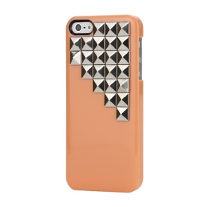 Handmade Silver Pyramid Stud Studded Hard Case Cover for iPhone 5 - Orange