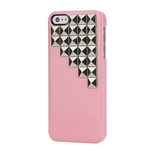 Handmade Silver Pyramid Stud Studded Hard Case Cover for iPhone 5 - Pink