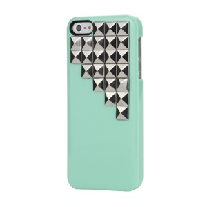 Handmade Silver Pyramid Stud Studded Hard Case Cover for iPhone 5 5s - Green