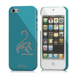 Luxury Eileen Swan Bling Diamond Electroplating Case Cover  for iPhone 5 - Capri Blue