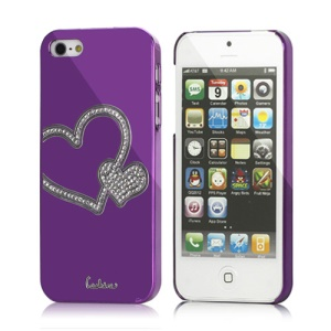 Atistic Eileen Heart Shape Shiny Diamante Hard Shell Cover for iPhone 5 - Violet Purple