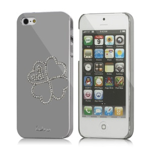 Hot Eileen Four Leaf Clover Rhinestone Hard Case for iPhone 5 - Silver