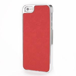 Raised English Letters Leather Coated Hard Case for iPhone 5 5s - Red