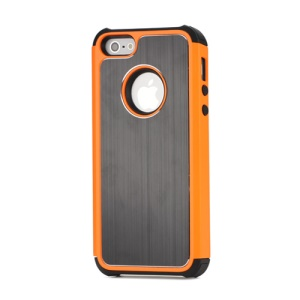 Brushed Metal Aluminium Plastic &amp; TPU Combo Case for iPhone 5 - Black / Orange