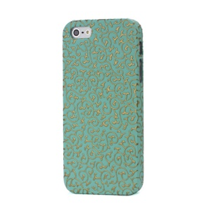 Swirl Floral Embossed Leather Coated Protective Hard Case for iPhone 5 - Golden / Cyan