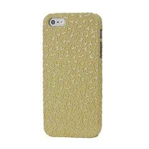 Swirl Floral Embossed Leather Coated Protective Hard Case for iPhone 5 - Yellow
