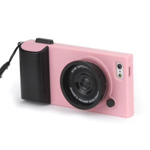Retro Camera Style Hard Plastic Case Cover for iPhone 5 - Black / Pink