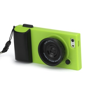 Retro Camera Style Hard Plastic Case Cover for iPhone 5 - Black / Green