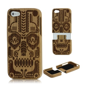 100% Real Wood Handmade Totem Mask Natural Wooden Shell for iPhone 5 5s - Cherry Wood