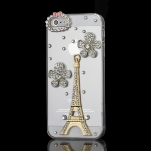 3D Luxury iPhone 5 Bling Crystal Diamond Flower & Eiffel Tower Hard Clear Case - Gold