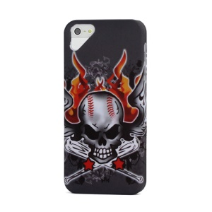 Angry Fire Evil Skull Skeleton Pattern iPhone 5 Slim Hard Shell