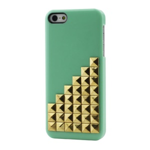 Fashionable Gold Pyramid Studs Rivet Hard Case for iPhone 5 5s;BabyBlue