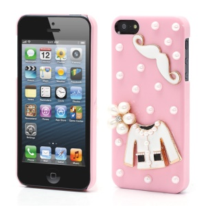 Cloth and Mustache Pearl Hard Cover Skin Case for iPhone 5 5s - Pink