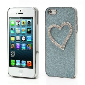 3D Heart Diamond Inlaid Shimmering Powder Electroplating Hard Cover Case for iPhone 5 5s - Blue