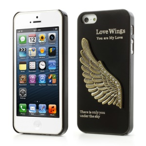 Cool Rhinestone 3D Metallic Wing Hard Skin Case for iPhone 5 5s - Black