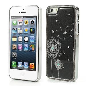 Black Beautiful Dandelion Sparkling Rhinestones Electroplating Hard Back Case Cover for iPhone 5 5s