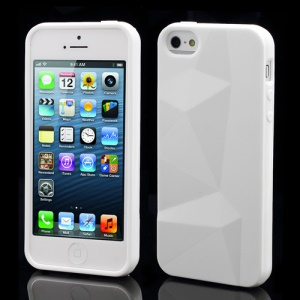 3D Irregular Triangles Pattern TPU Jelly Cover Case for iPhone 5 - White