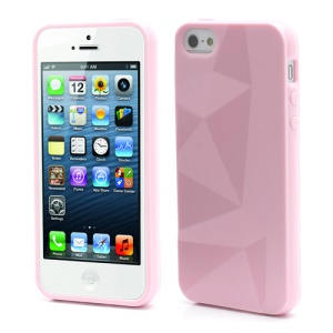3D Irregular Triangles Pattern TPU Jelly Cover Case for iPhone 5 - Pink