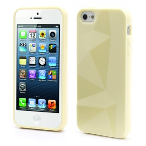 3D Irregular Triangles Pattern TPU Jelly Cover Case for iPhone 5 - Yellow