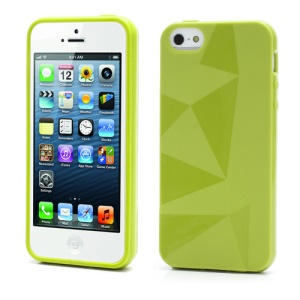 3D Irregular Triangles Pattern TPU Jelly Cover Case for iPhone 5 - Green