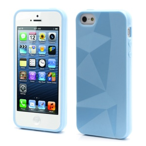 3D Irregular Triangles Pattern TPU Jelly Cover Case for iPhone 5 - Blue