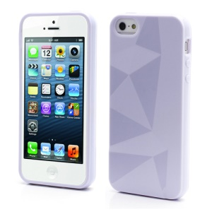 3D Irregular Triangles Pattern TPU Jelly Cover Case for iPhone 5 - Purple