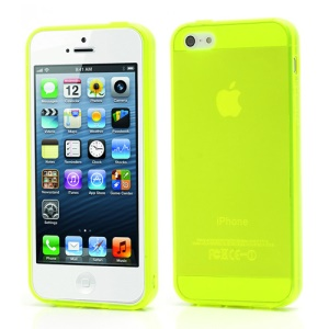 New Arrival Transparent Clear TPU Gel Skin Case for iPhone 5 - Yellowgreen