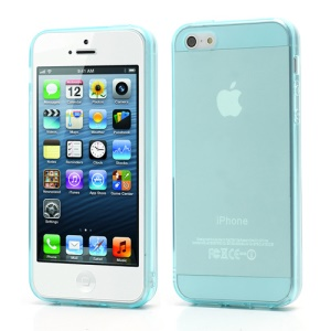 New Arrival Transparent Clear TPU Gel Skin Case for iPhone 5 - Light Blue