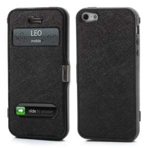 Cross Grain Folio Flip Jelly TPU Case with Front Cover for iPhone 5 - Black