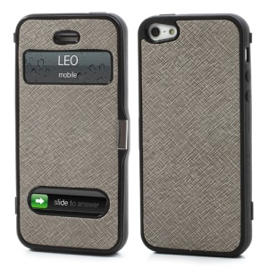 Cross Grain Folio Flip Jelly TPU Case with Front Cover for iPhone 5 - Grey
