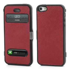 Cross Grain Folio Flip Jelly TPU Case with Front Cover for iPhone 5 - Red