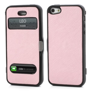 Cross Grain Folio Flip Jelly TPU Case with Front Cover for iPhone 5 - Pink