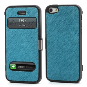 Cross Grain Folio Flip Jelly TPU Case with Front Cover for iPhone 5 - Blue
